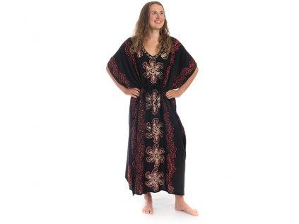 Dlouhé kaftanové šaty černočervené Květiny