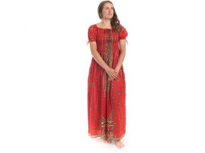 Dlouhé červené šaty s orientálním designem
