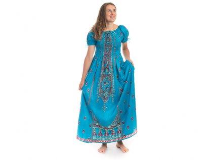 Dlouhé modré šaty s orientálním designem