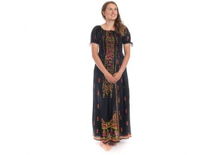 Dlouhé černé šaty s orientálním designem