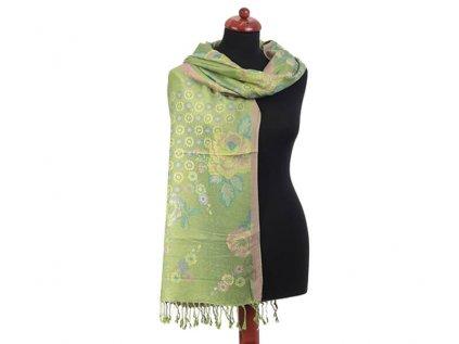 Dlouhý indický šál květinový zelený