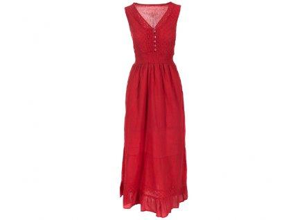 Dlouhé červené bavlněné šaty s krajkou