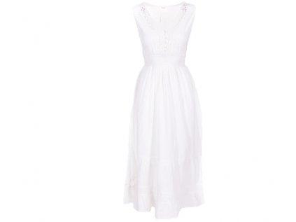 Dlouhé bílé bavlněné šaty s krajkou