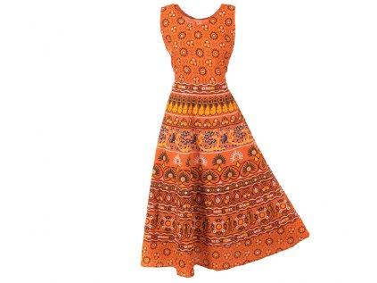 Dlouhé boho šaty z bavlny oranžové