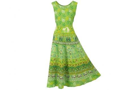 Dlouhé boho šaty z bavlny zelené