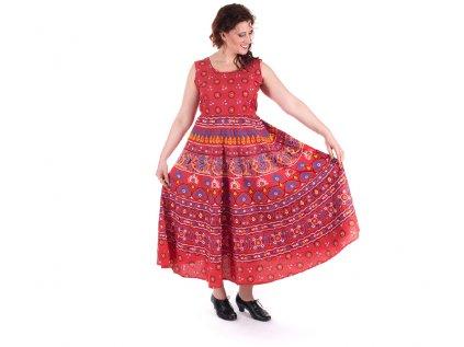 Dlouhé boho šaty z bavlny červené