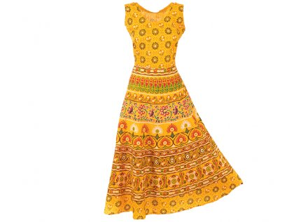 Dlouhé boho šaty z bavlny žluté