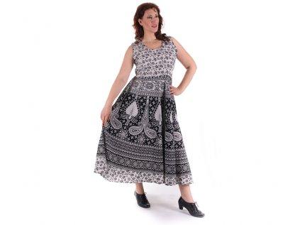 Dlouhé boho šaty z bavlny černobílé