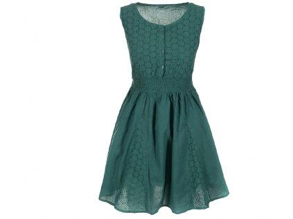 Krátké zelené bavlněné šaty s krajkou