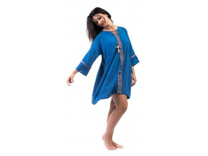 Lehounké tunikové šaty modré