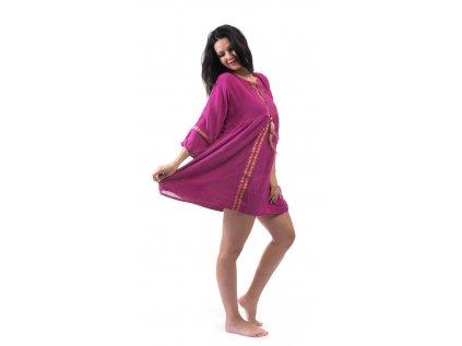 Lehounké tunikové šaty fuchsiové