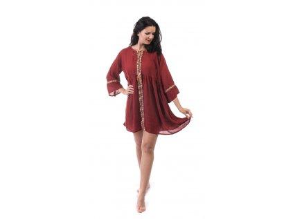 Lehounké tunikové šaty vínové