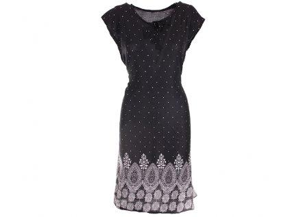 Letní černé šaty s puntíky