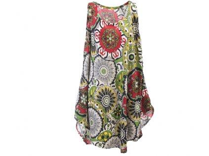 Letní šaty bez rukávů zelenočervené