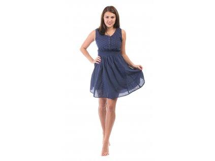 Krátké tmavomodré bavlněné šaty s krajkou