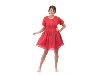 Krátké červené bavlněné šaty s rukávky