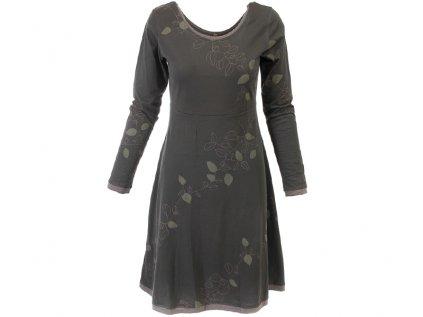 Šedozelené podzimní šaty z organické bavlny