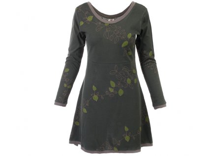 Tmavozelené podzimní šaty z organické bavlny