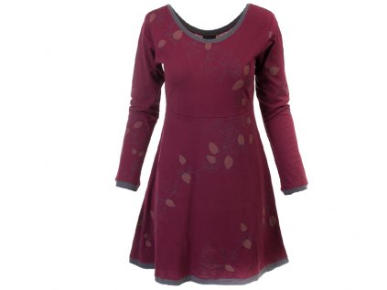 Vínové podzimní šaty z organické bavlny