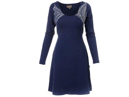 Šaty s dlouhým rukávem z organické bavlny modré