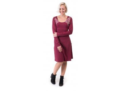 Šaty s dlouhým rukávem z organické bavlny vínové