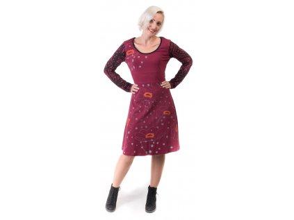 Designové šaty z organické bavlny vínové