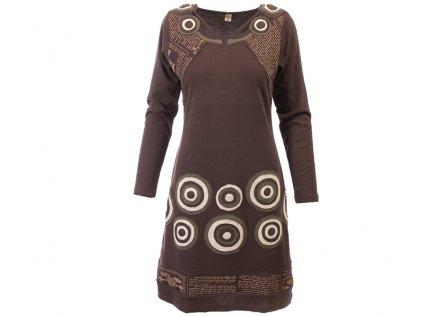 Originální hnědé šaty z organické bavlny