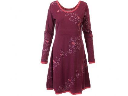Vínovo růžové podzimní šaty z organické bavlny