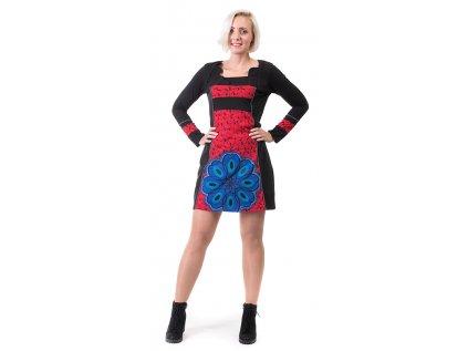 Originální černočervené šaty z organické bavlny