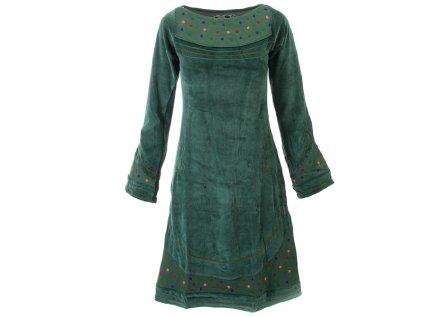 Originální zimní sametové šaty zelené