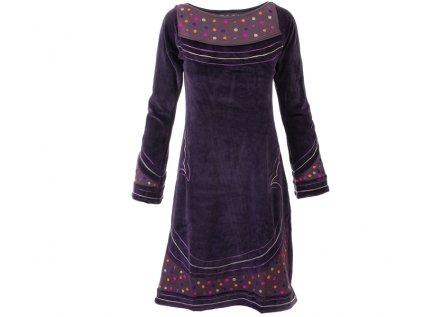 Originální zimní sametové šaty fialové