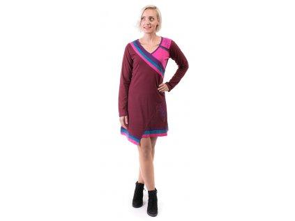 Krátké sportovní šaty s dlouhým rukávem vínové