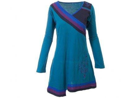 Krátké sportovní šaty s dlouhým rukávem petrolejové