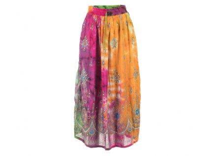 Dlouhá batikovaná indická sukně s flitry dožluta