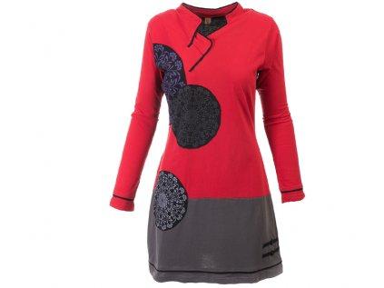 Krátké etno šaty s dlouhým rukávem černočervené