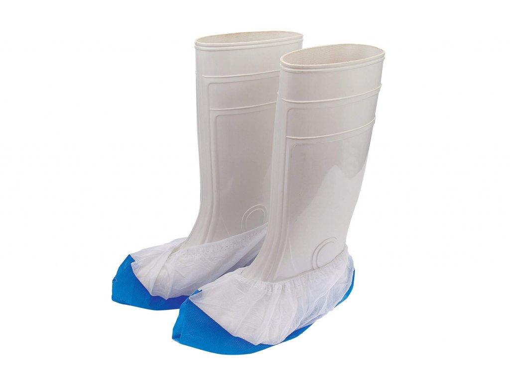 bílo-modré ochranné voděodolné a protiskluzové jednorázové návleky na obuv