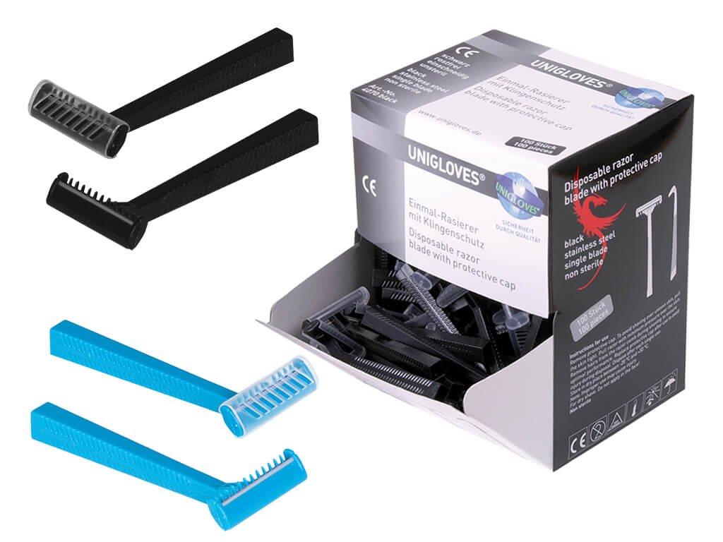 unigloves jednobřité jednorázové holicí strojky černé a modré