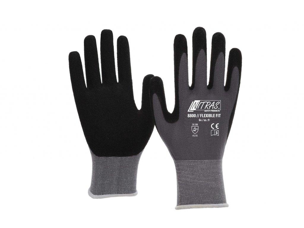 Pletené pracovní rukavice Flexible Fit 8800 v černošedivé barvě