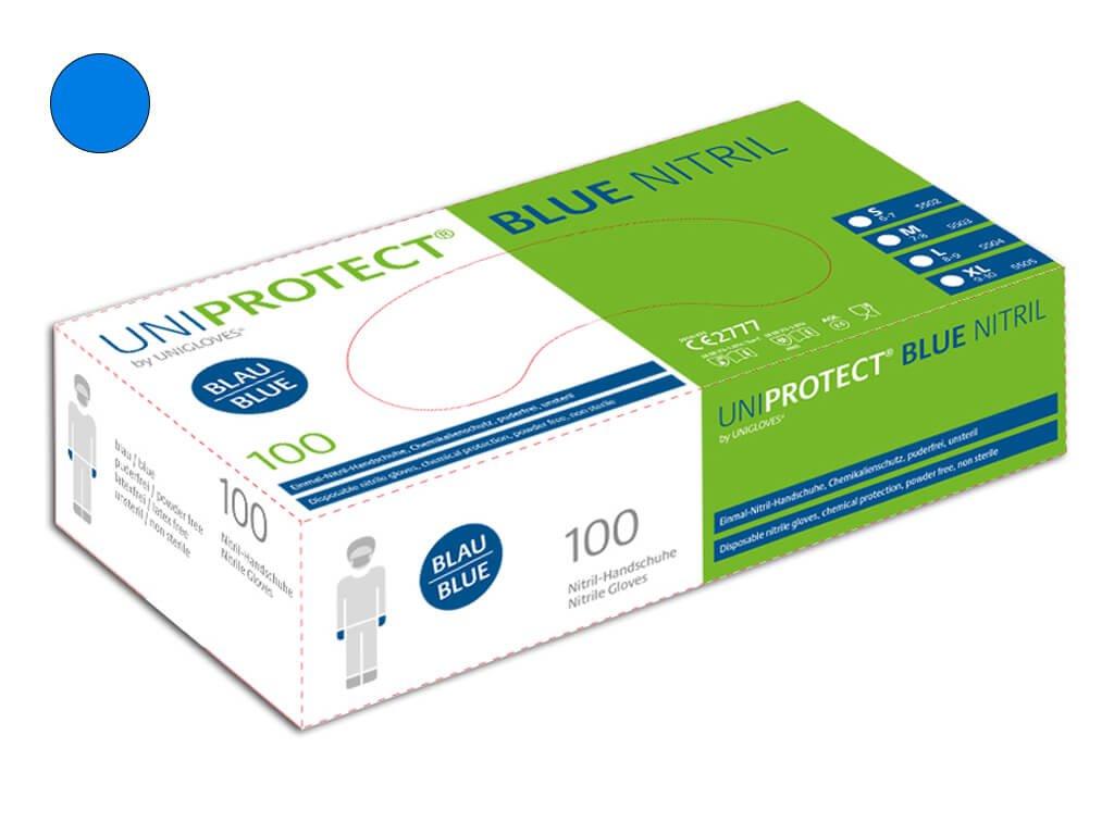 nitrilové rukavice modré uniprotect v bílozelené krabičce od značky unigloves