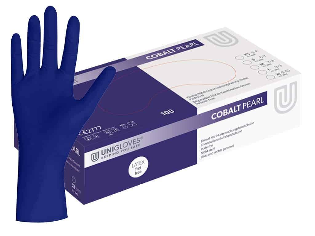 nitrilové rukavice kobaltově modré cobalt pearl v modrobílé krabičce od značky  unigloves