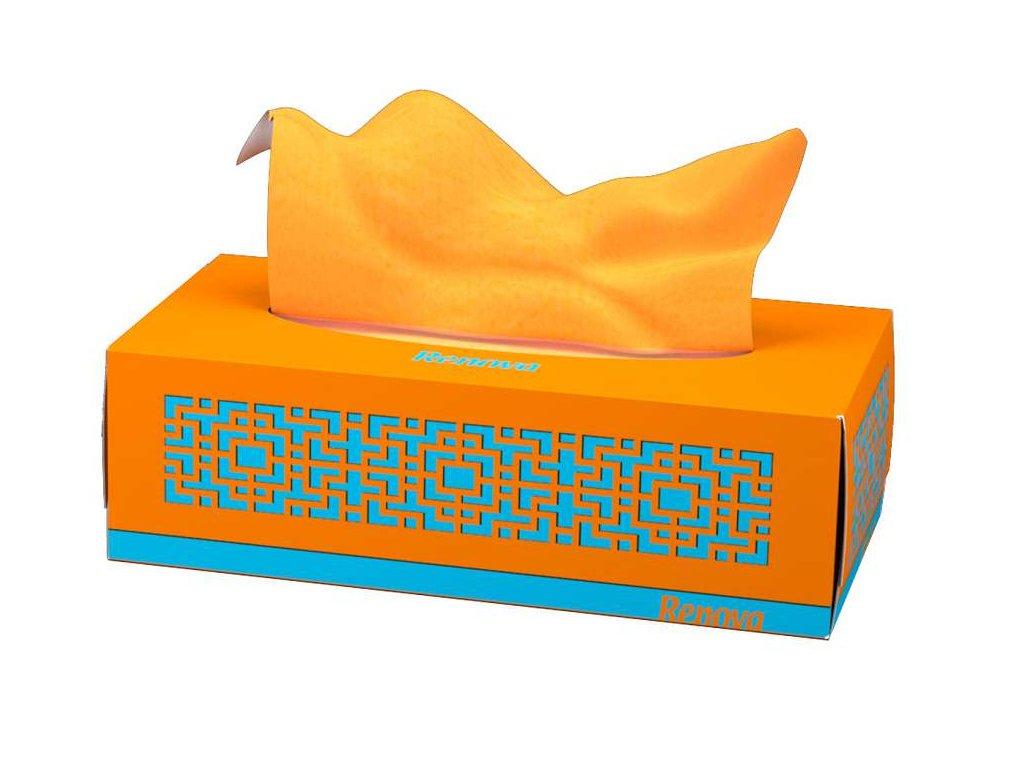 oranžové papírové kapesníčky v oranžové krabičce