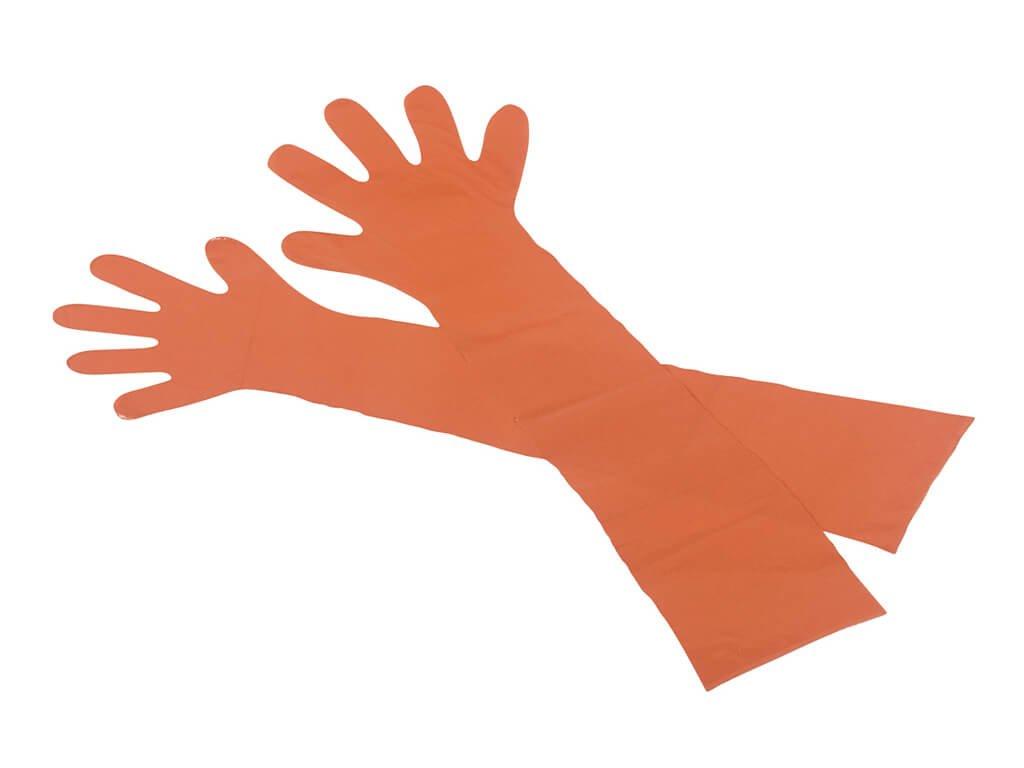 dvě veterinární inseminační a vyšetřovací rukavice oranžové