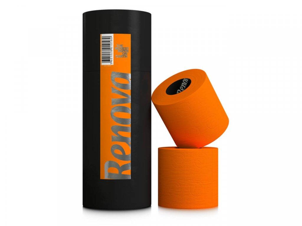 oranžový toaletní papír v dárkové designové tubě 3 role