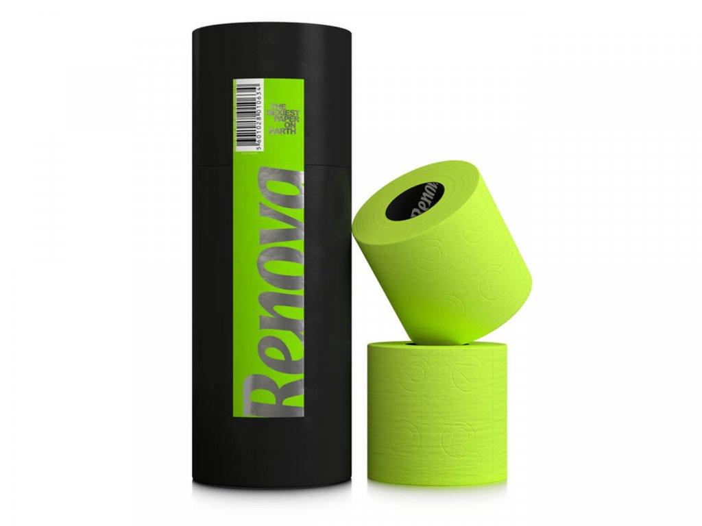 zelený toaletní papír v dárkové designové tubě 3 role