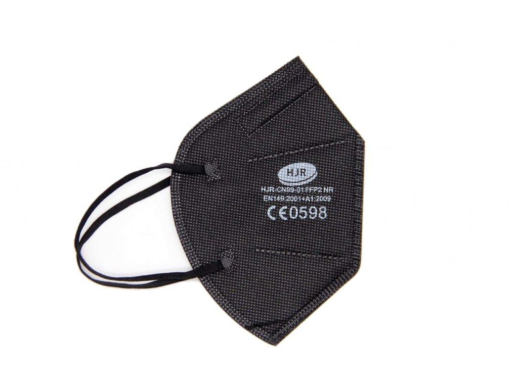 černý respirátor FFP2 s gumičkou za uši