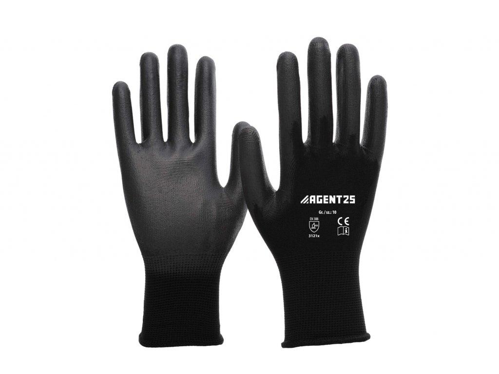 Agent25 Nylonové pracovní rukavice s PU vrstvou černé