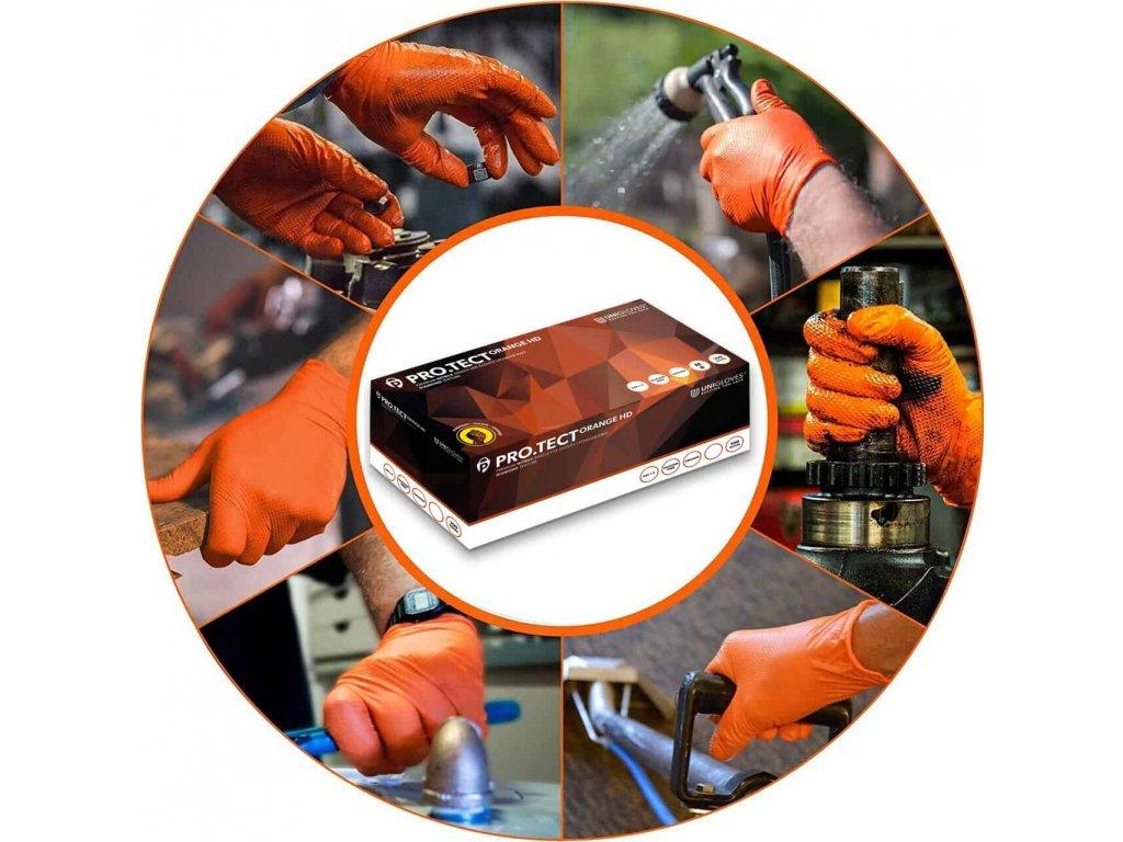 nitrilové oranžové zesílené rukavice pro.tect v oranžovočerné krabičce od značky unigloves