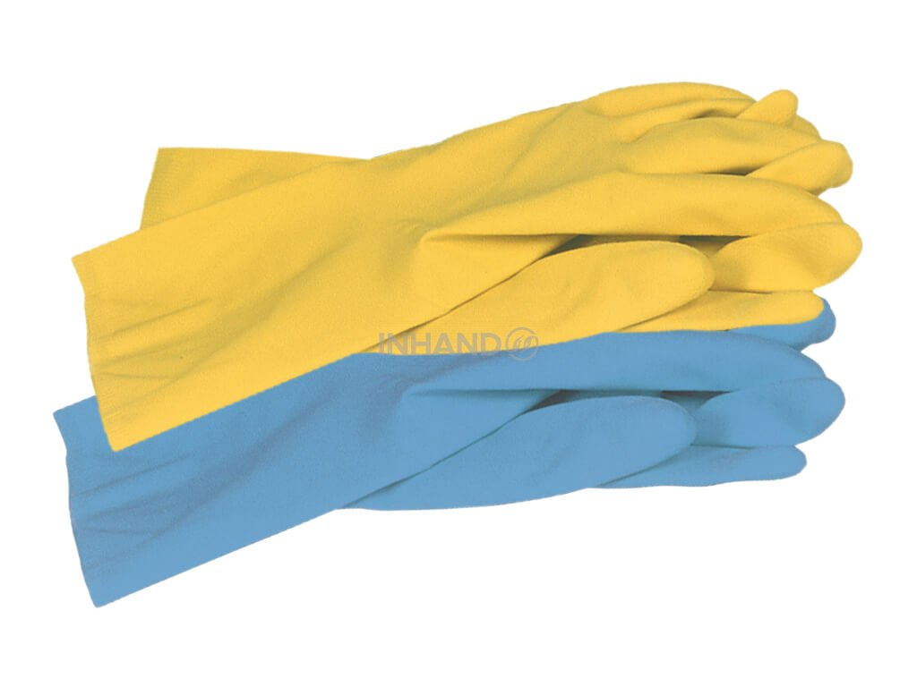 dvě gumové latexové rukavice na úklid all safe žluté a modré