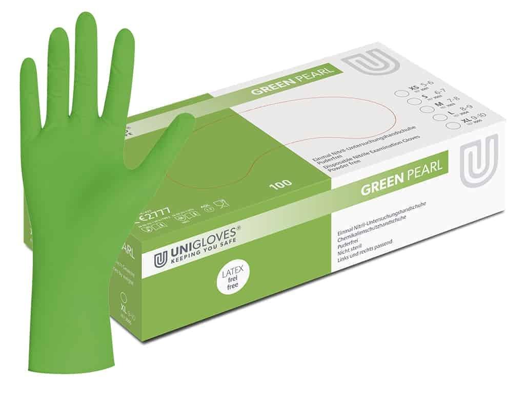 Jednorázové a vyšetřovací nitrilové rukavice v zelené barvě 58c2513e14
