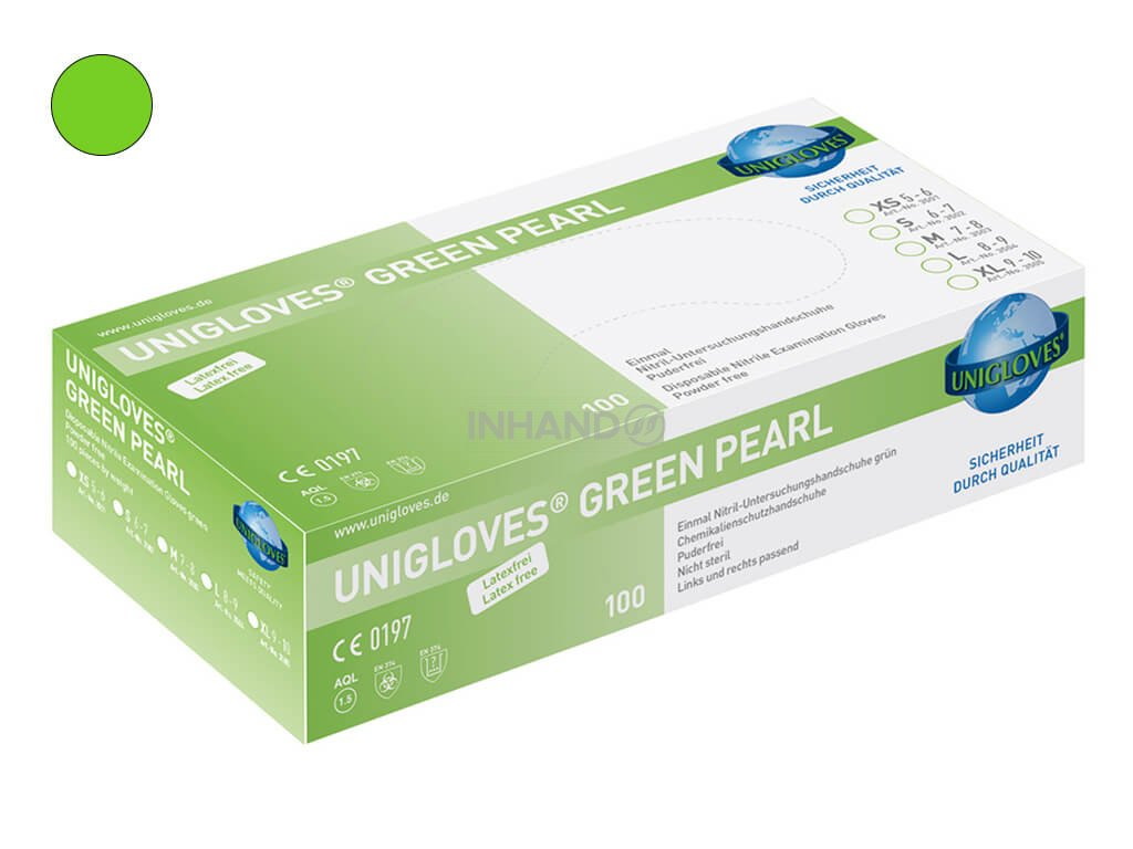 nitrilové rukavice zelené green pearl v zelenobílé krabičce od značky unigloves